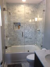 simple corner tub shower combo in small bathroom corner tub
