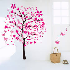 Bedroom Wall Decals Trees Blossom Colorful Heart Large Tree Wall Sticker Romantic Sticker