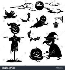 halloween ghost clipart black and white halloween cartoon set black silhouette on stock illustration