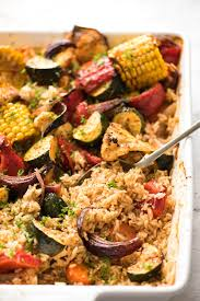 Vegetables by Oven Baked Rice And Vegetables One Pan Recipetin Eats