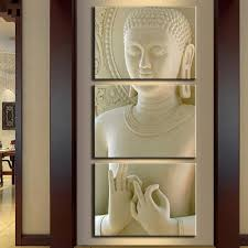 online get cheap modern buddha painting 3 picture home decoration