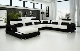 living room stunning u shaped white modern leather chaise