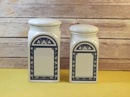 vintage formal h u0026 h decorative canisters 2 white blue picture
