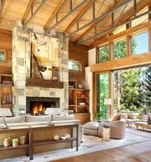 Exposed Beam Ceiling Living Room by Denver Scissor Truss Fashion Living Room Rustic With Oversize