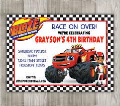 blaze monster machines birthday invitation