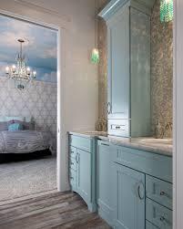 dura supreme master bath with light blue cabinets shabby chic dura supreme master bath with light blue cabinets shabby chic styling ornate wallpaper
