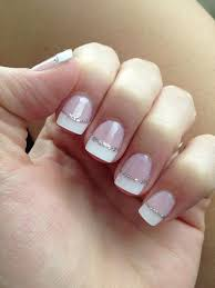 wedding white tip silver glitter bridal french nail top coat