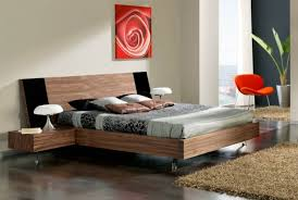 modern floating platform bed on black wooden bunk all white