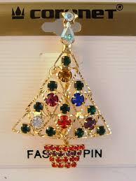 gold christmas tree pin u0026 star red green blue purple yellow