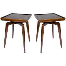 Coffee Table Modern Design Pair Of Mid Century Modern Walnut Wood Side Tables With Spider Leg