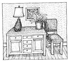 architecture drawing hand table chair 2