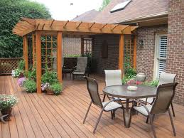 backyard deck with outdoor casual dining room idea grabbing