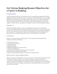 Resume In Banking Industry
