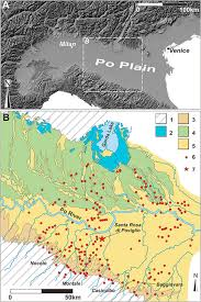 Climate change versus land management in the Po Plain  Northern     Science Direct  A  Digital terrain model of Northern Italy illustrating the area where