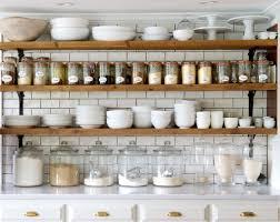 cabinets u0026 drawer wood open shelves white subway tile backsplash