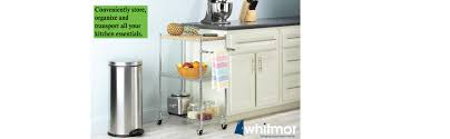 Kitchen Carts On Wheels by Amazon Com Whitmor Supreme Kitchen Cart With Wheels Wood