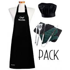 tablier de cuisine personnalisable ensemble barbecue tablier noir personnalisé toque et accessoires