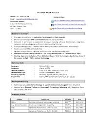 Best Java Developer Resume by Python Developer Resume 20 Download Format Here Software Sample