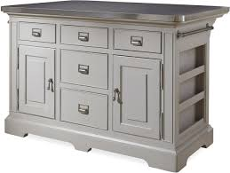 darling the kitchen island with stainless wrapped metal top
