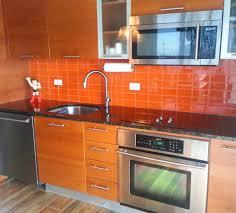 bright orange glass subway tile in poppy modwalls lush 3x6 tile