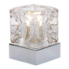 Small Bedroom Dresser Lamps Modern Glass Ice Cube Touch Table Lamp With Chrome Base Amazon Co