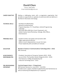 Sample Objectives In Resume For It by Sample Resume For Fresh Graduates It Professional Jobsdb Hong Kong