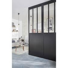 fenetre metal style atelier cloison amovible atelier noir effet métal h 240 x l 80 cm leroy