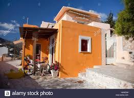 colorful hous in vrodado syros cyclades islands greek islands