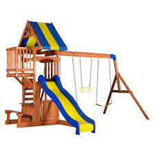 Cedar Playsets Peninsula Wooden Swing Set Playsets Backyard Discovery