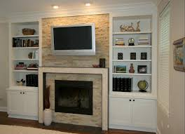 top built in cupboards next to fireplace small home decoration