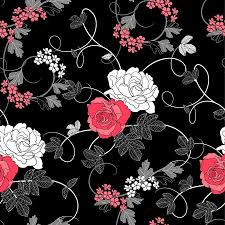 repeatable halloween background seamless retro rose pattern black background vector download