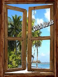 Golf Murals by Beach Cabin Window Wall Mural