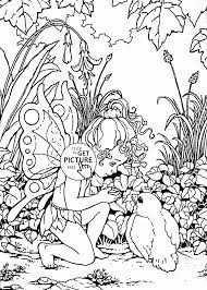 little fairy and bird coloring page for kids for girls coloring