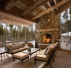 Outdoor Patio With Roof by Good Looking Exposed Timber Patio Rustic With Fireplace Ledge
