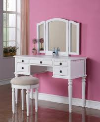 Vanity Bedroom Makeup Modern Minimalist White Dressing Table With Mirror And Drawers