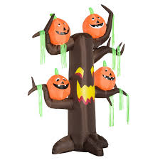 illuminated halloween decorations homcom 8 u0027 haunted tree with jack o lantern pumpkins halloween led
