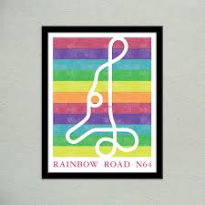 Super Mario Home Decor by Pidesignprints On Etsy Mario Kart 64 Rainbow Road Track Map