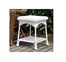 White Wicker Outdoor Patio Furniture by Amazon Com Wicker Lane Outdoor White Wicker Patio Furniture End