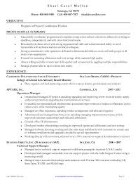 Resume Examples  Example Of Resume Template For Project Coordinator With Experience As Operations Manager And