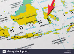 Map Of Asia by Red Arrow Pointing Indonesia On The Map Of Asia Continent Stock