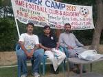 Riaz Ahmed with club official Talal Rana and secretary Tajamal ...