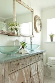 Shabby Chic Bathroom Vanity by White Shabby Chic Bathroom With Glass Vessel Sink And Sink Skirt