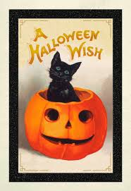 vintage black cat and jack o u0027 lantern halloween card greeting