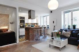 artsy modern studio apartment with open kitchen plan also high integrated apartment interior with open kitchen also brick island and modular coffee table