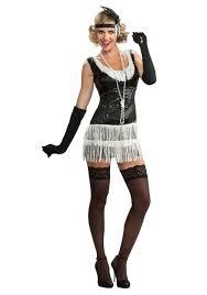 1920 Halloween Costumes Black White Sequin Flapper Costume
