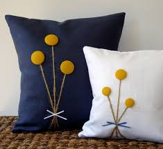Knitted Cushions With Buttons Yellow Billy Ball Flower Pillow In White Linen By Jillianrenedecor