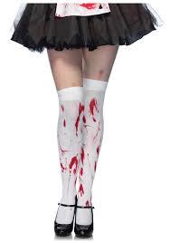 Girls Zombie Halloween Costumes Bloody Thigh Stockings