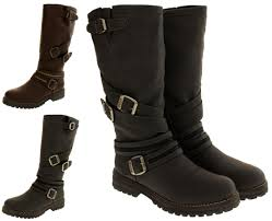 leather biker boots womens keddo boots real wool lined warm faux leather biker boot