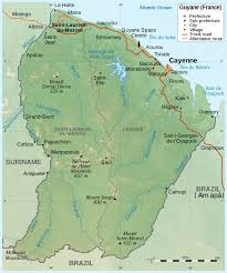 Political Map Of Latin America by Large Scale Political Map Of French Guiana With Relief Roads