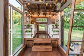 Tiny House Interior Images by Tricked Out Tiny Home Features Garage Door And Custom Deck Curbed